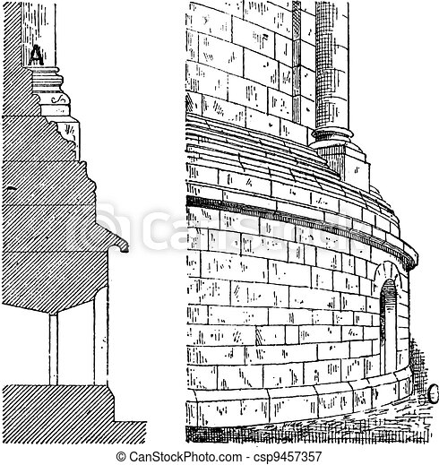 Eastern Apse of the Cathedral Spire, vintage engraving - csp9457357