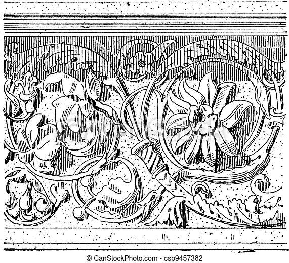 Foliage Design, vintage engraving - csp9457382