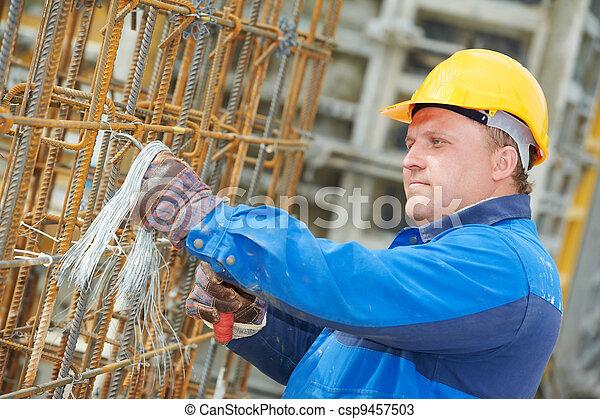 construction worker making reinforcement - csp9457503