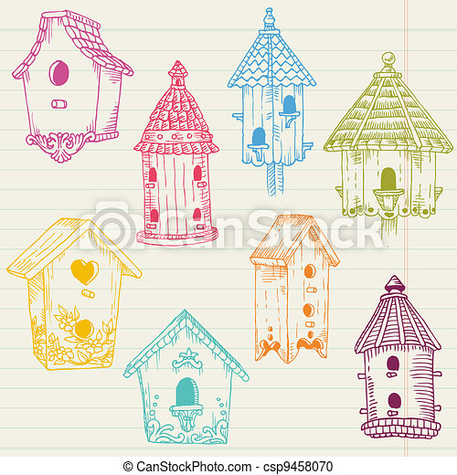 Cute Bird House Doodles - hand drawn in vector - for design and scrapbook - csp9458070