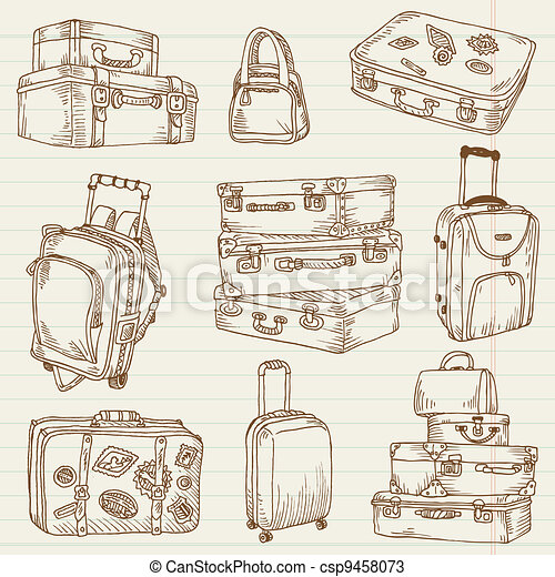 Set of Vintage Suitcases - for design and scrapbook in vector - csp9458073