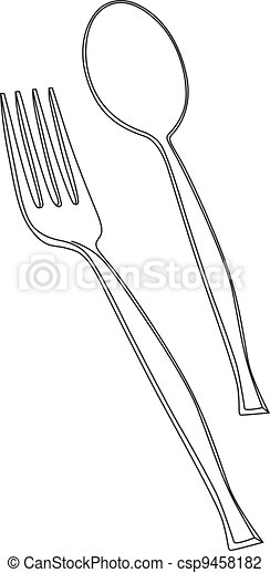 vector illustration of fork and spoon - csp9458182