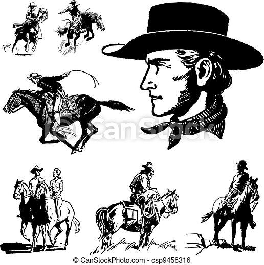 Vector Vintage Cowboy Graphics - csp9458316