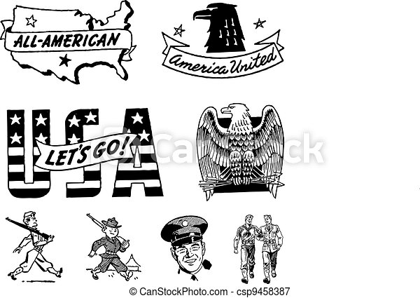 Vector Vintage USA Military Graphics - csp9458387
