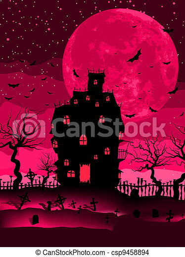 Scary halloween vector with magical abbey. EPS 8 - csp9458894