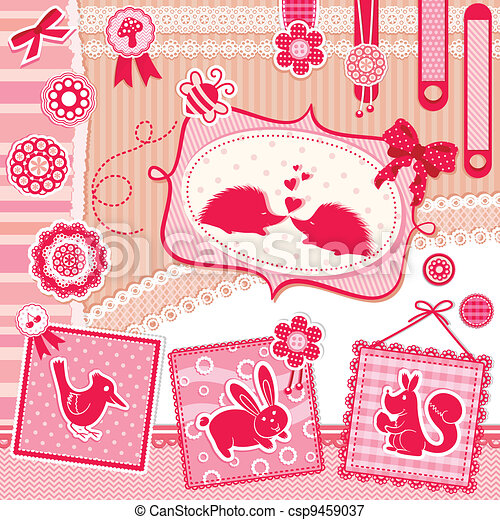 romantic scrap booking set - csp9459037