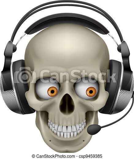 Cool Skull with headphones - csp9459385