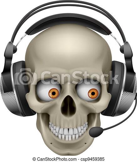 Cool Skull with headphones - csp9459385