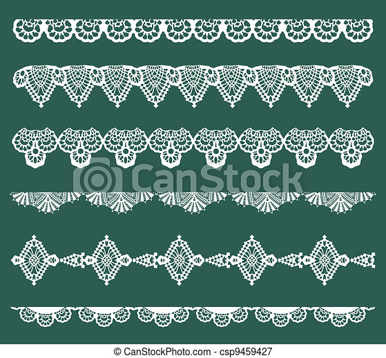 Set of Lace Ribbons - for design and scrapbook - in vector - csp9459427
