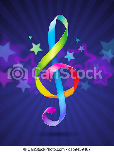 Multicolored treble clef - csp9459467
