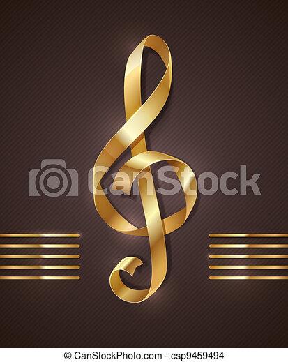 Gold ribbon - treble clef - csp9459494