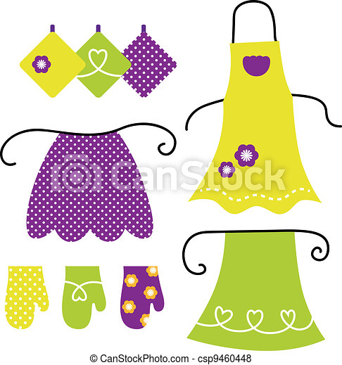 Retro apron set isolated on white - csp9460448