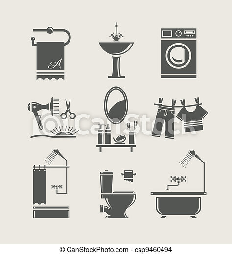bathroom equipment set icon - csp9460494