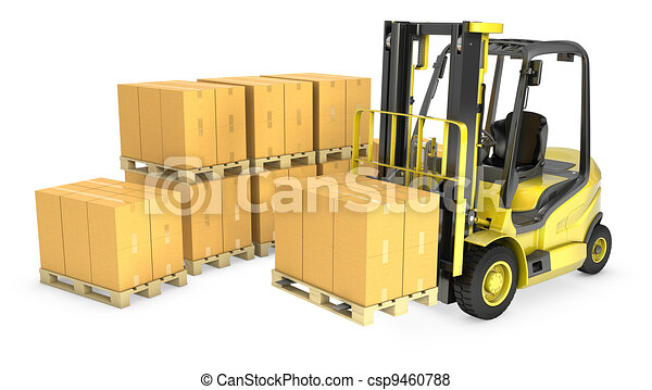 Yellow fork lift truck with stack of carton boxes - csp9460788