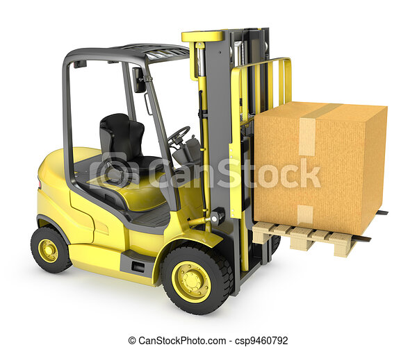 Yellow fork lift truck with large carton box - csp9460792