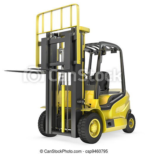 Yellow fork lift truck with raised fork, front view - csp9460795