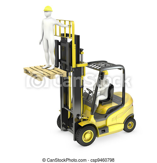 Abstract white man in a fork lift truck, lifting other worker on a fork, isolated on white background - csp9460798