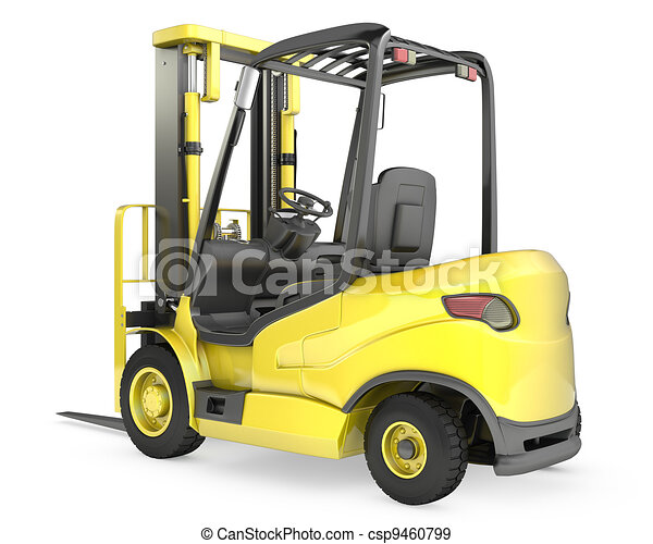 Yellow fork lift truck, rear view - csp9460799
