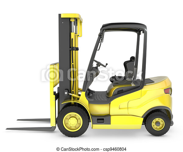 Yellow fork lift truck side view - csp9460804