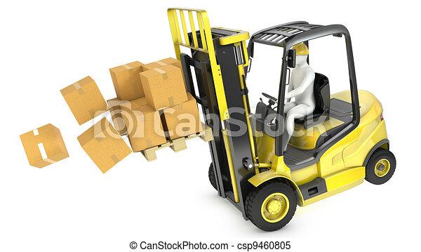 Overloaded yellow fork lift truck falling forward - csp9460805