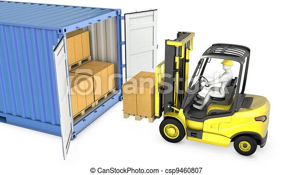 Yellow fork lift truck unloads cargo container - csp9460807