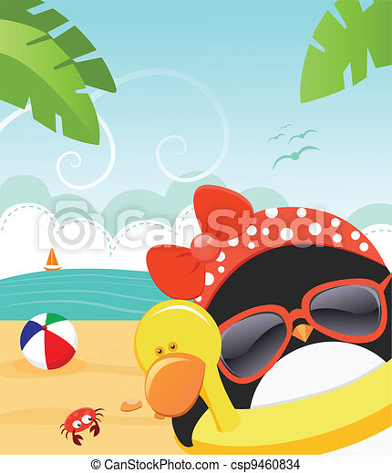 Summer  Penguin - csp9460834
