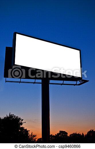 Blank billboard at night - csp9460866