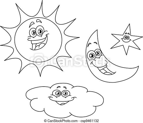 Ilustracao Vetorial De Esbocado Sol Lua Estrela Nuvem