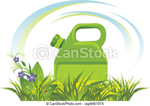 Petrol canister among grass - csp9461974