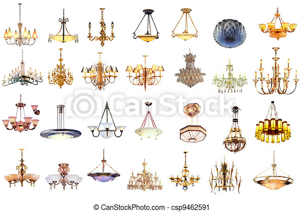 chandelier and lamp isolated on white background  - csp9462591