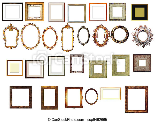picture gold frames with a decorative pattern - csp9462665