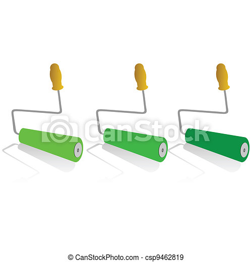 roller for painting in green color - csp9462819
