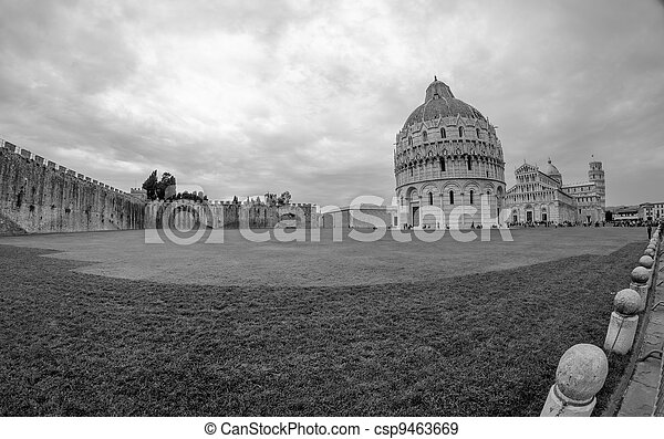 Cathedral, Baptistery and Tower of Pisa in Miracle square - csp9463669