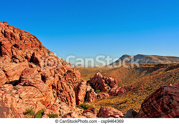 sandstone landscape in Red Rock Canyon National Conservation Area, Nevada, United States - csp9464369