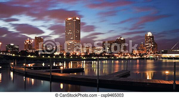 Evening Panorama of Milwaukee - csp9465003