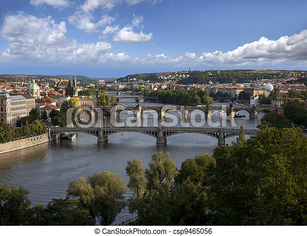 Prague Panorama with Vltava River and bridges - csp9465056