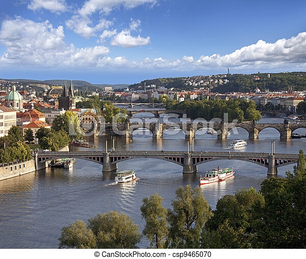 Prague Panorama with Vltava River and bridges - csp9465070