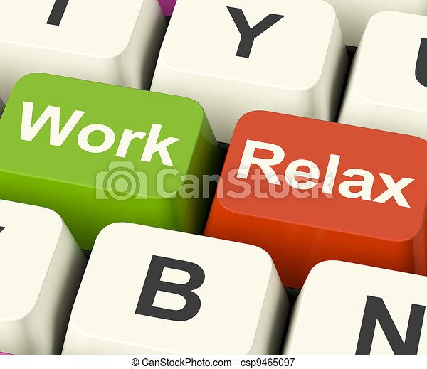 Work Relax Keys Shows Decision To Take A Break Or Start Retirement - csp9465097