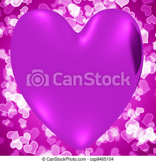 Heart With Mauve Hearts Background Showing Loving And Romance - csp9465104