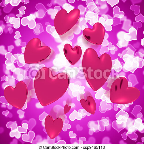 Hearts Falling With Mauve Bokeh Background Shows Love And Romance - csp9465110