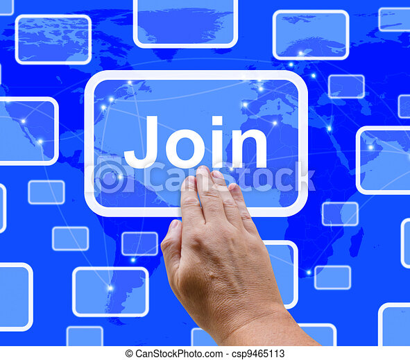 Join Button With Hand Showing Subscription And Registration - csp9465113
