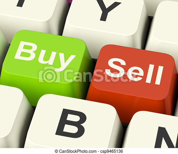 Buy And Sell Keys Representing Business Trade Or Stocks Online - csp9465136