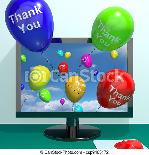 Thank You Balloons Coming From Computer As Online Thanks Messages - csp9465172