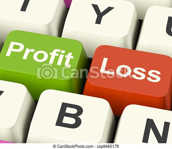 Profit Or Loss Keys Showing Returns For Internet Business - csp9465178