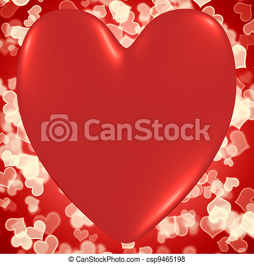 Heart With Red Hearts Bokeh Background Shows Valentines And Loving - csp9465198