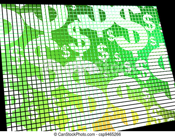 Dollars On Screen Showing Money Wealth Or Earnings - csp9465266