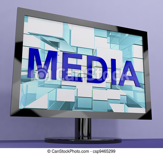 Media Word On Monitor Showing Internet OrTelevision Broadcasting - csp9465299