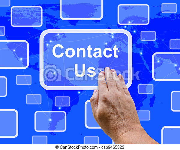 Contact Us Button On Blue For Helpdesk Or Assistance - csp9465323