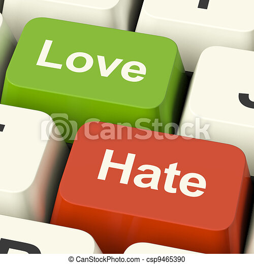Love Hate Computer Keys Showing Emotion Anger And Conflict - csp9465390