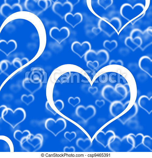 Blue Hearts Background Showing Romance Love And Valentines - csp9465391